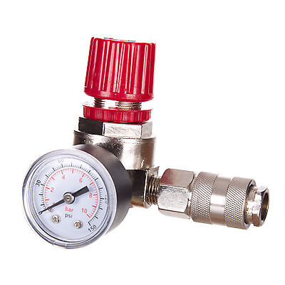 """Pressure Regulator Air In Line Gauge 1/4"""" for Sray Gun with Quick Coupling"""