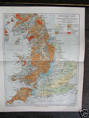 Antique print geological map England and Wales UK 1904