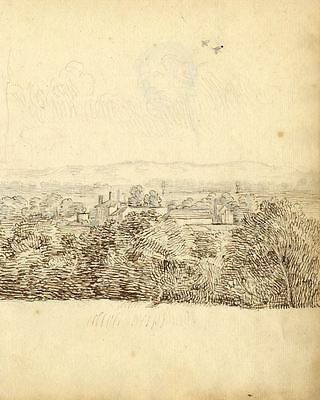 George Evans, Landscape from a Hilltop - Original 18th-century pen & ink drawing