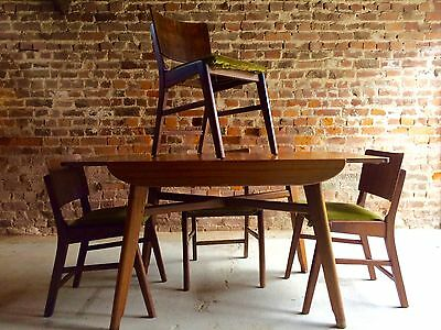 Fabulous Vintage Dining Table Four Chairs Walnut 1950's Danish For Reupholstery