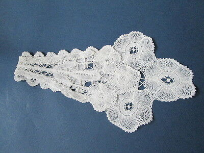 Antique Jabot handmade Brugge flowers lace