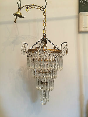 Sparkling Vintage Crystal Four Tier Waterfall Chandelier