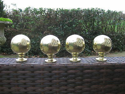4 Original Cast Brass Antique Bed Knobs Victorian / Edwardian