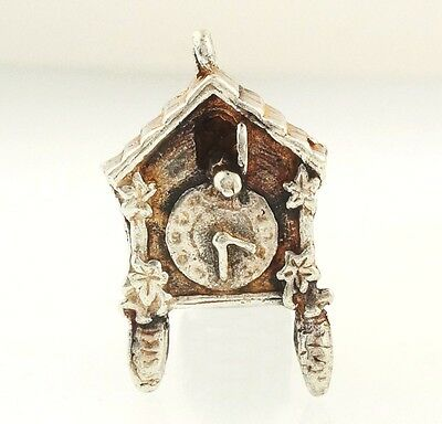 Sterling Silver Cuckoo Clock Charm (Approx 21mmx10mmx5mm)