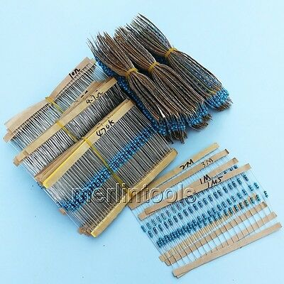 2600 Pcs 130 values 1/4W 0.25W 1% Metal Film Resistor Assortment Kit
