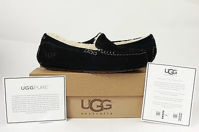 100% Authentic Womens UGG Australia Ansley Black Fur 7 Shoes Slippers Moccasins