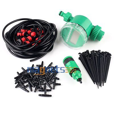 25m Automatic Micro Drip System DIY Irrigation Watering Kit Greenhouse Garden