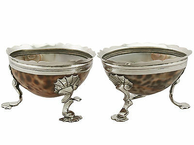 Antique Sterling Silver and Cowrie Shell Salts, Circa 1820