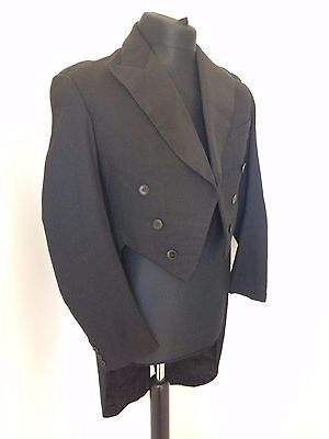 Vintage 1940's Black Wool Tails Coat 38""