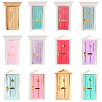 1/12 Scale Dollhouse Miniature Furniture Wooden Door with Hardware Accessory DIY