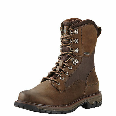 "Ariat Conquest 8"" GTX Men's Hunting Boots Pebbled Brown Gore-Tex Waterproof New"