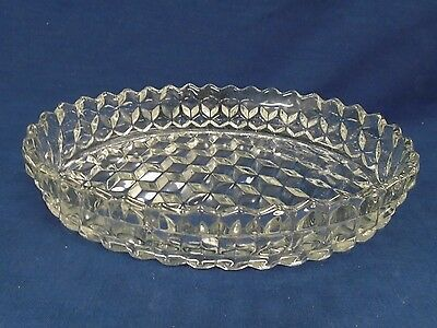 """Vintage Fostoria Glass AMERICAN CLEAR Cubist 11"""" OVAL FLOATING GARDEN BOWL #252"""