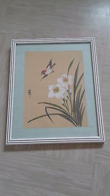 antique Chinese painting with bird on silk signed