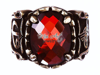 NEW Unique 925 Sterling Silver Handmade Ottoman Mens Gift Ring Ruby All Size