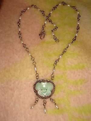 Vintage Chinese Export Sterling Silver Carved Jade & Pearl Dangle Necklace Bj