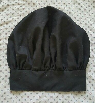 Happy Chef Black Cloth One Size Fits All Kitchen Chef Hat with Velcro Closure
