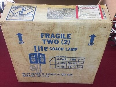 Vintage New In Box Miller Lite Beer Coach Lamps Wall Sconces Rare Nice Sign NOS