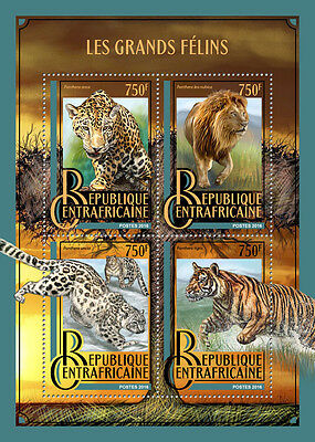 Central African Rep 2016 MNH Big Cats Lions Tigers Jaguars Leopards 4v MS Stamps