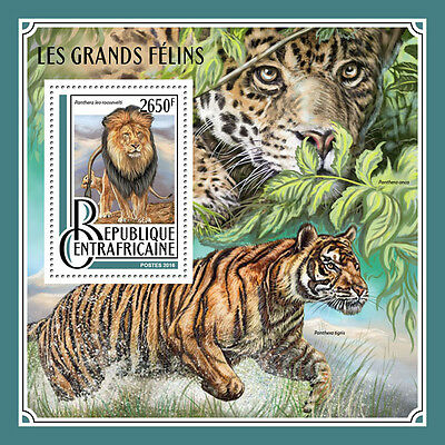 Central African Rep 2016 MNH Big Cats Lions Tigers 1v S/S Stamps