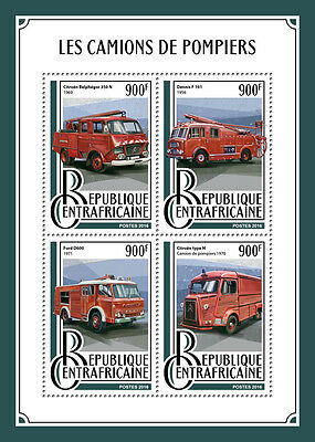 Central African Rep 2016 MNH Fire Engines Trucks Ford D600 Dennis 4v M/S Stamps
