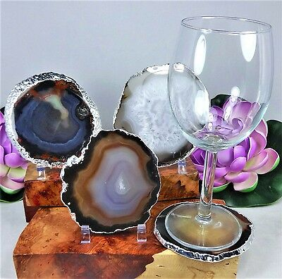 Silver Plated Natural Brown Black Agate Slice Coaster Set Of 4 Pieces T4A