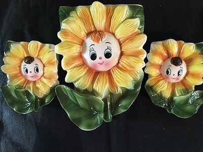 Adorable Anthropomorphic 1950's Sunflower Wall Pockets Set Of 3, Japan