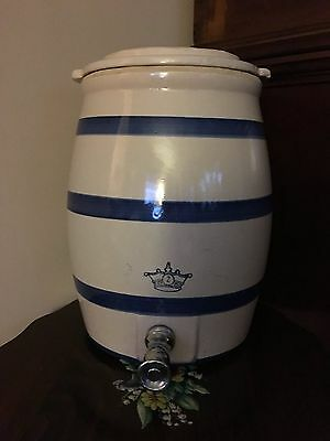 Old ROBINSON RANSBOTTOM BLUE CROWN 2 Gallon Stoneware WATER COOLER Crock w/ Lid