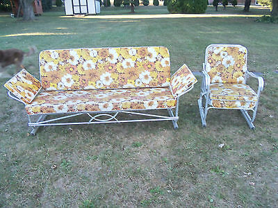 Vintage Mid Century Aluminum Porch Patio Glider With Glider Chair