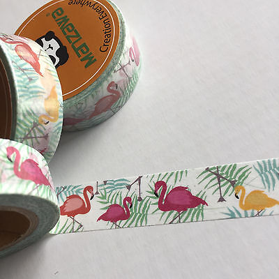 Washi Tape Fabulous Flamingos 15Mm Wide X 10Mtr Roll Plan Craft Wrap Scrap