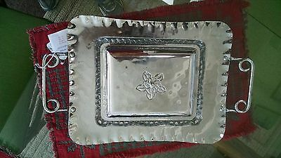 Vintage Decorative Aluminum Tray with glass 3-section relish insert and lid-3pc.