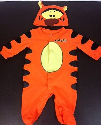 Newborn Boys Girls Tigger Sleeper Snap Front One Piece Footed Hat Tail Disney