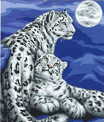 New Rare Snow Leopard Portrait Tapestry- Ready To Stitch & Enjoy Forever!