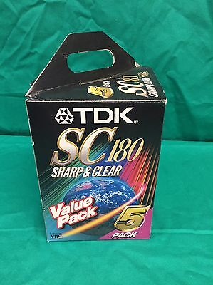 5 Pack - BLANK TDK SC180 Sharp & Clear 3 hour VHS Tapes New And Sealed