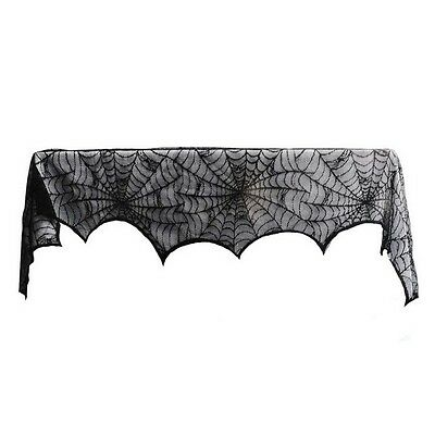 1 Piece Lace Spiderweb Fireplace Cloth for Halloween Decoration Black  BT F0X0