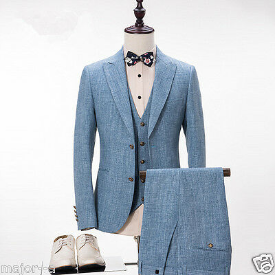 LIGHT BLUE Best Man Slim Notch Lapel Tuxedo Groomsman Best Men ...