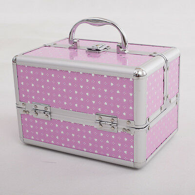 Hearts Women Professional Makeup Organizer Cosmetic Box Storage Bag Pink White
