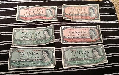 1954 Vintage Canada Currency Lot - 1954 $1 & $2 Notes Lot