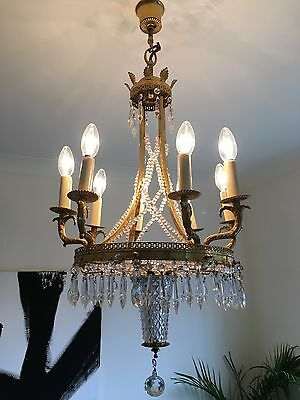 Stunning Vintage French Chandelier Gold/brass Glass Crystal Droplets