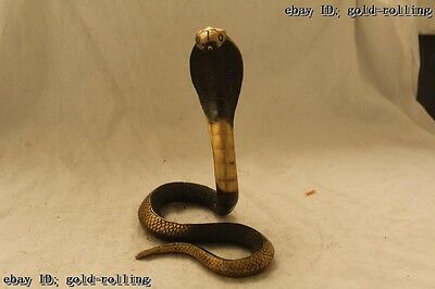 "9""Chinese Folk Bronze carved excellent Lucky Lifelike elapoid Cobra Statue"