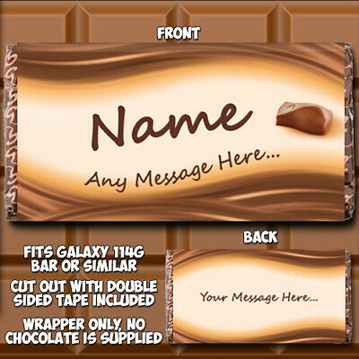 Chocolate Bar Wrapper Personalised fits Galaxy 114g Birthday Gift Novelty W001