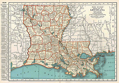 Louisiana Map 1935 Vintage Original Rand McNally Wall Decor Gulf of Mexico