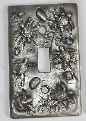 PEWTER LIGHT SWITCH PLATE with 3-D Sea Turtles / Tortoises Big Blue