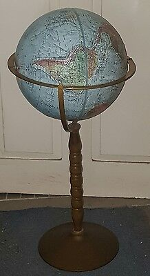 Vintage Replogle Land And Sea Standing Globe Tilting Made In Usa