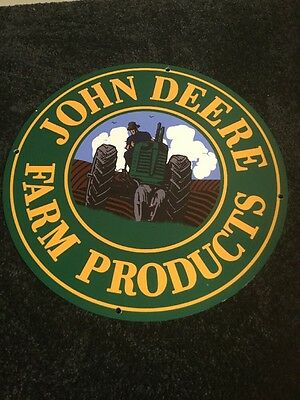 "Vintage John Deere Farm Products 13.75"" Metal Tractor, Gas & Oil Sign Pump Plate"