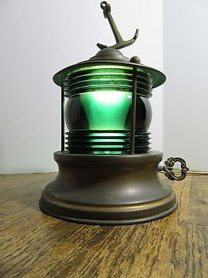 Vintage Nautical Marine Boat Brass w/Green Glass Ship Light Lamp