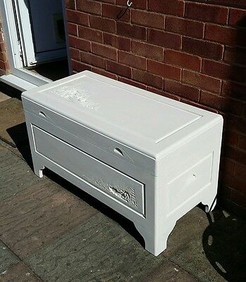 Painted Camphor Wood Chinese Carved Chest
