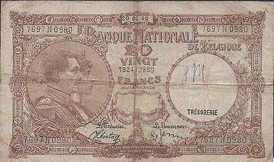 Belgium  20 Francs  20.02.1940  P 111 Series N  Circulated Banknote