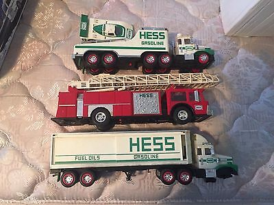 Hess Toy Trucks LOT OF 3 FOR PARTS OR RESTORATION OR PLAY, W 3 OIL DRUMS