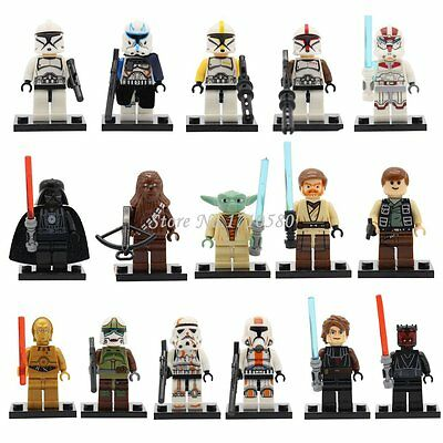 16Pc MINI FIGURES STAR WARS FIT LEGO YODA VADER C-3PO HAN SOLO CHEWBACCA KANOBI