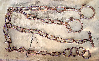 Vtg Hand Wrought Iron Chain Horse Stables Large Link Rusty Industrial Dungeon